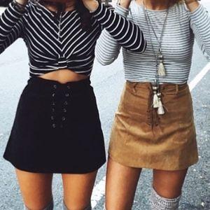 LF ONE WAY Corduroy Lace up Mini Skirt